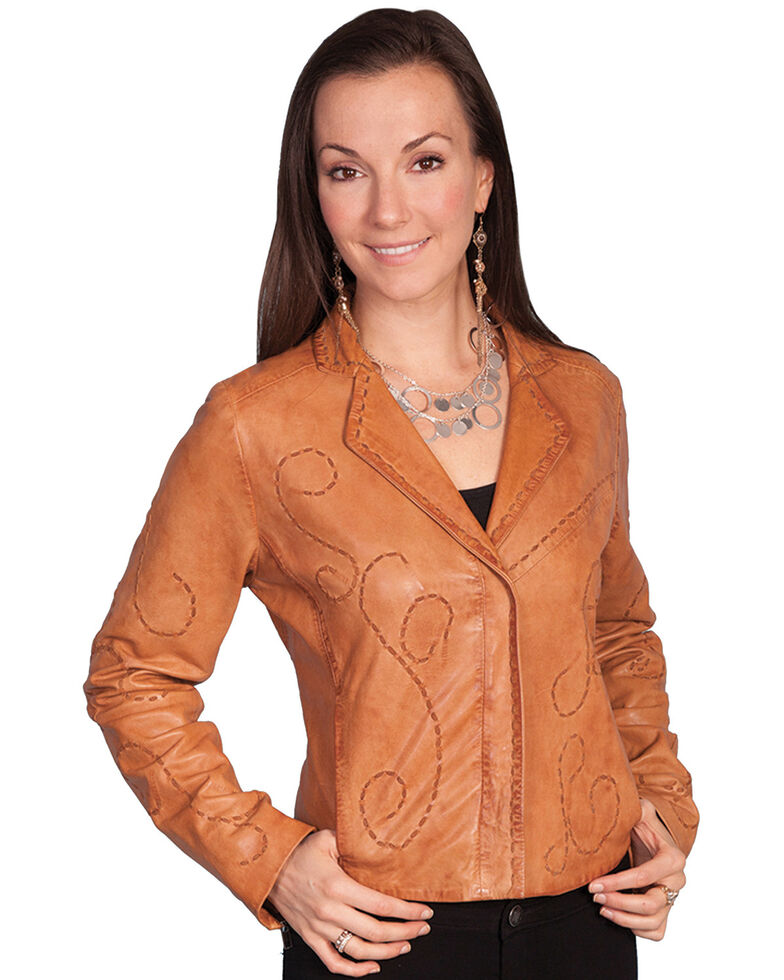 Scully Whipstitch Lamb Jacket, Cognac, hi-res