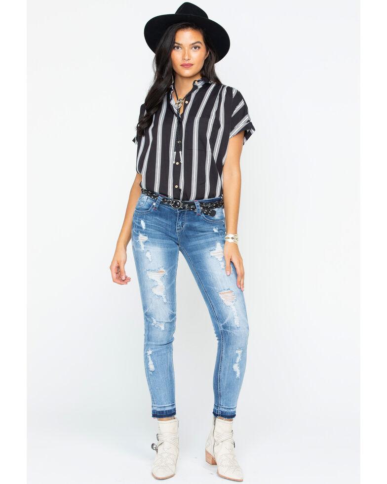 Grace in LA Women's Distressed Patch Skinny Jeans , Indigo, hi-res