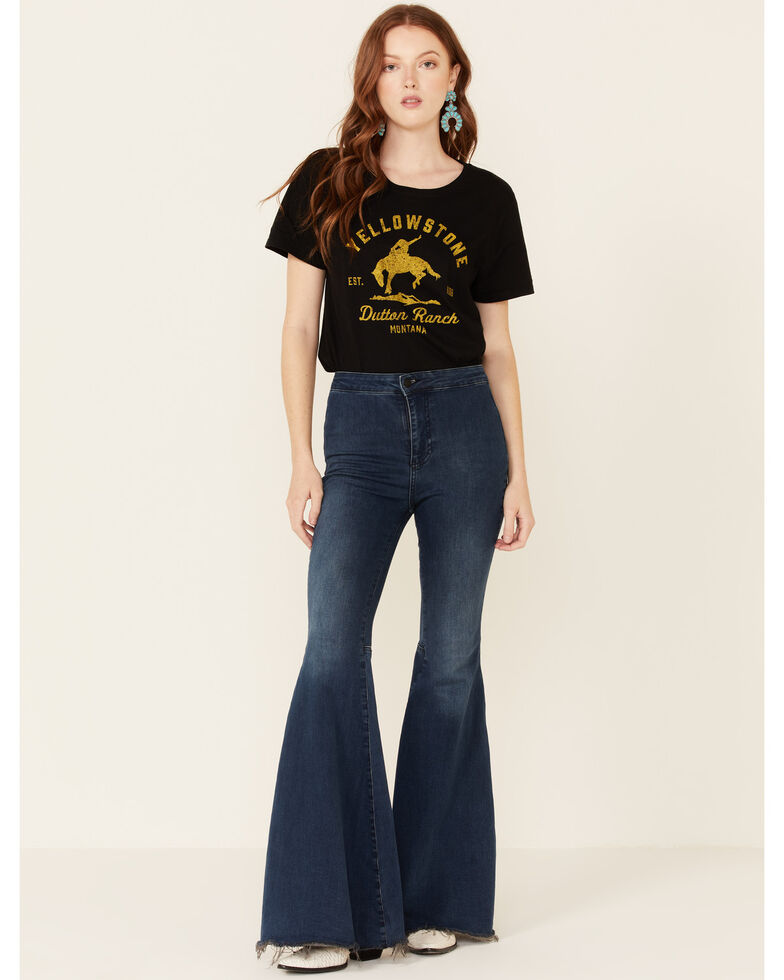 Changes Women's Yellowstone Dutton Ranch Graphic Short Sleeve Tee , Black, hi-res