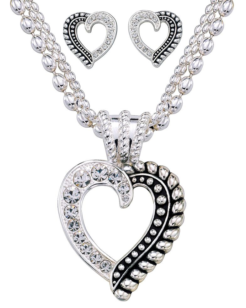 Montana Silversmiths Crystal Heart Necklace & Earring Set, Silver, hi-res