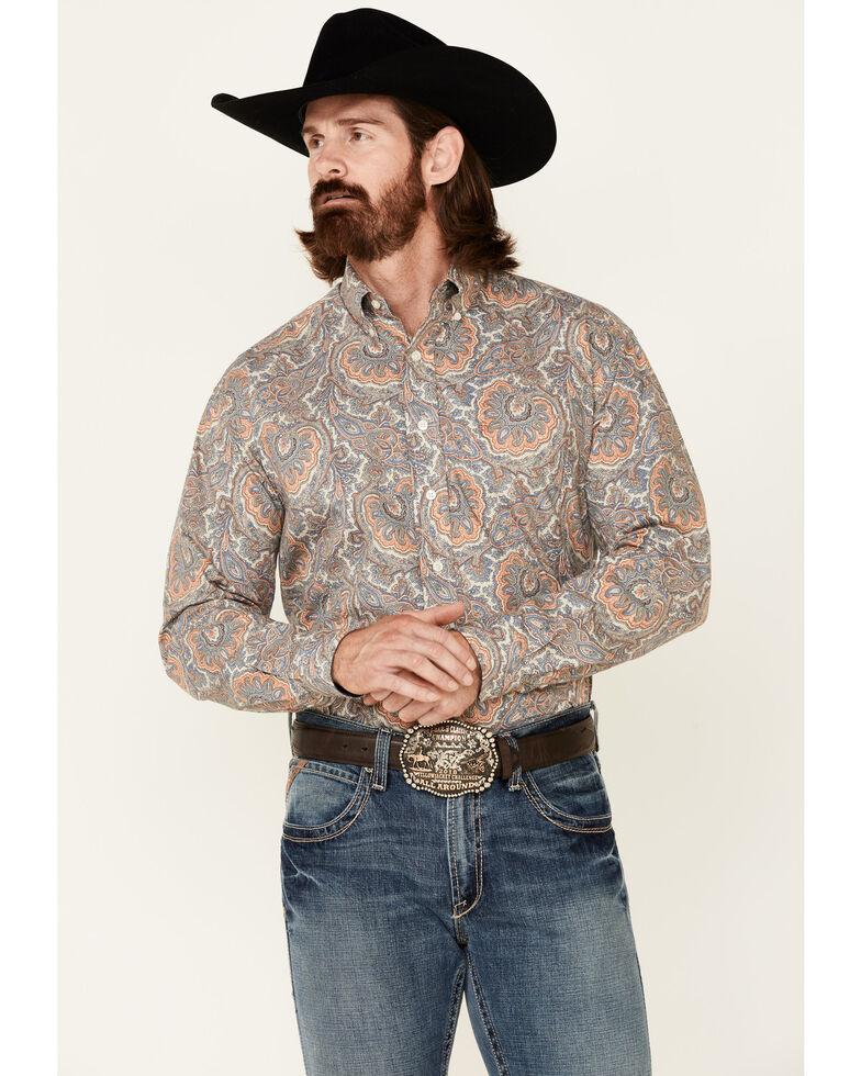 Stetson Men's Sand Large Paisley Print Long Sleeve Button-Down Western Shirt , Blue, hi-res