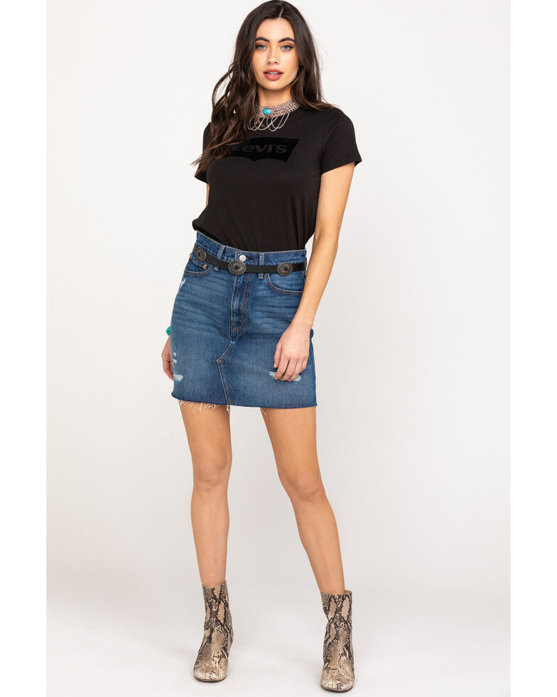 Levi's Women's Black Flocked Logo Short Sleeve Tee, Black, hi-res