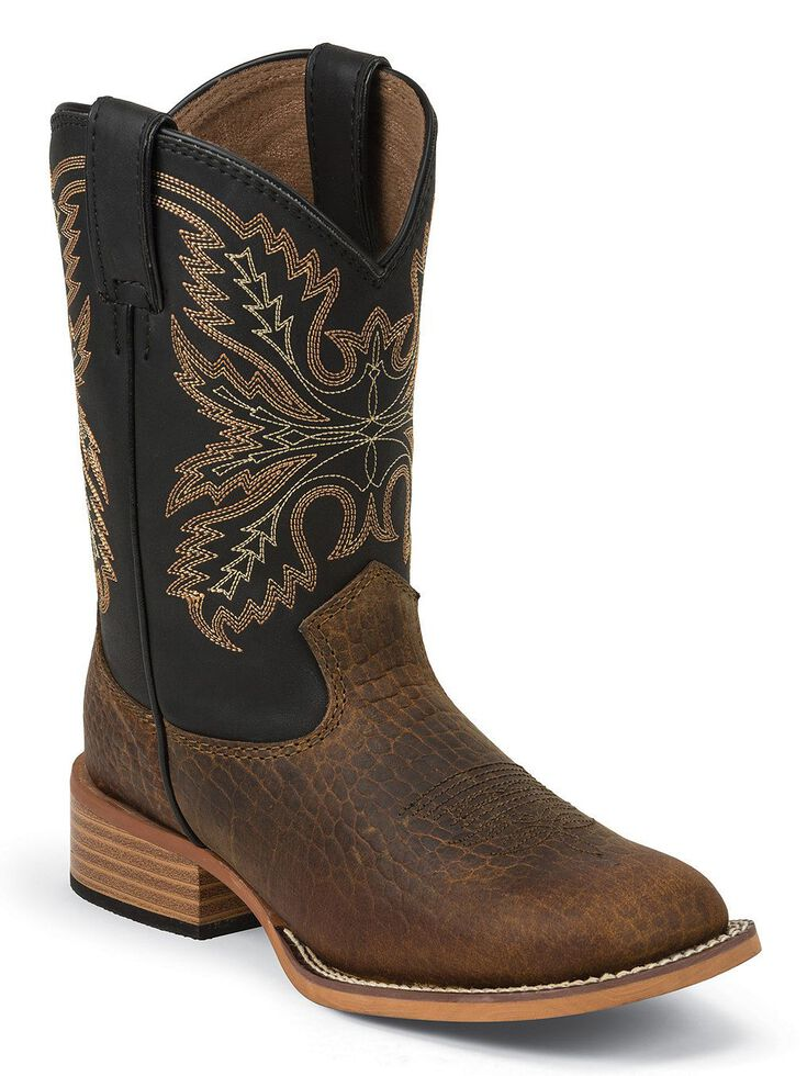 Justin Bent Rail Youth Midnight Coyote Cowboy Boots - Square Toe, Brown, hi-res