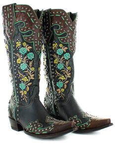 Old Gringo Women's Round Up Rosie Western Boots - Snip Toe, Brown/blue, hi-res