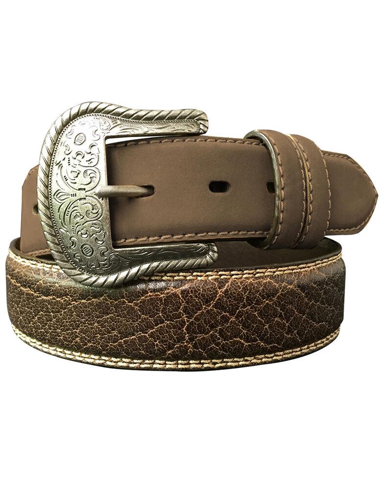 G Bar D Men's Brown Feathered Edge Leather Belt, Brown, hi-res