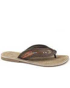 Roper Women's Brown Tooled Arrow Sandals, Brown, hi-res