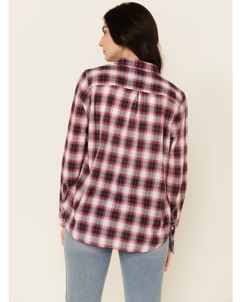 Flag & Anthem Women's Red Kenne Plaid Long Sleeve Button-Down Western Core Shirt , Red, hi-res