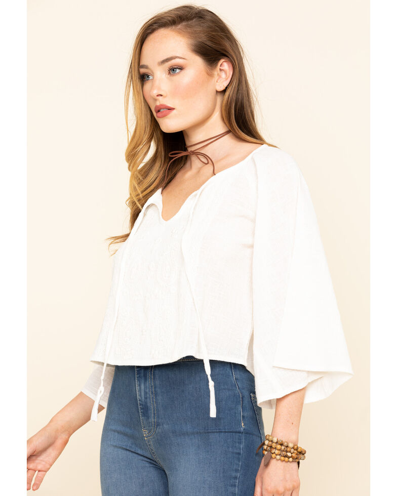 Shyanne Women's Ivory Front Embroidered Peasant Tassel Top, Ivory, hi-res
