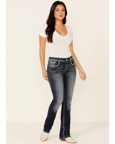 Grace in LA Women's Cowhead Outline Bootcut Jeans, Blue, hi-res