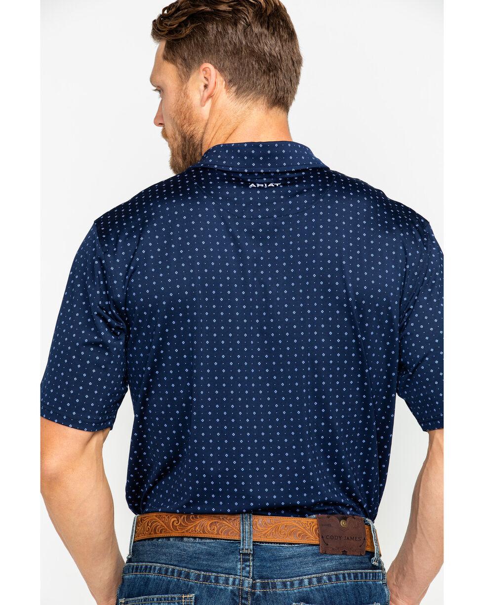 Ariat Men's Navy Spray Print Short Sleeve Polo Shirt , Navy, hi-res