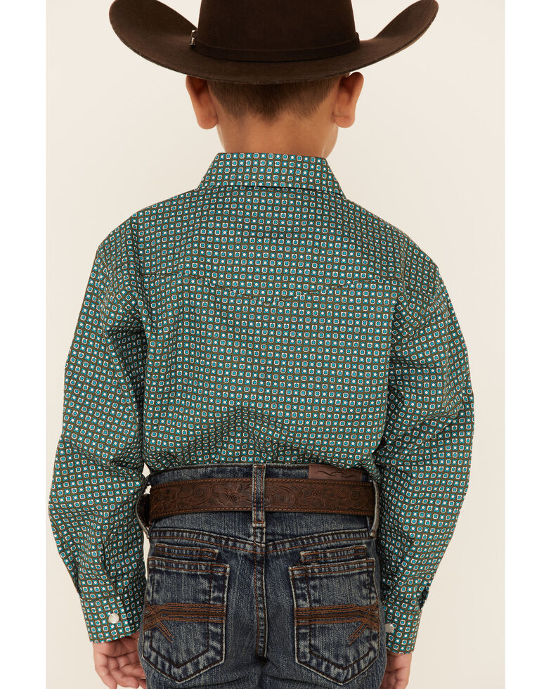 Amarillo Boys' Cool Pines Block Geo Print Long Sleeve Snap Western Shirt , Green, hi-res