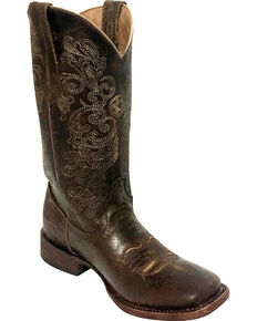 Ferrini Women's Southern Charm Dark Chocolate Cowgirl Boots - Square Toe, Dark Brown, hi-res