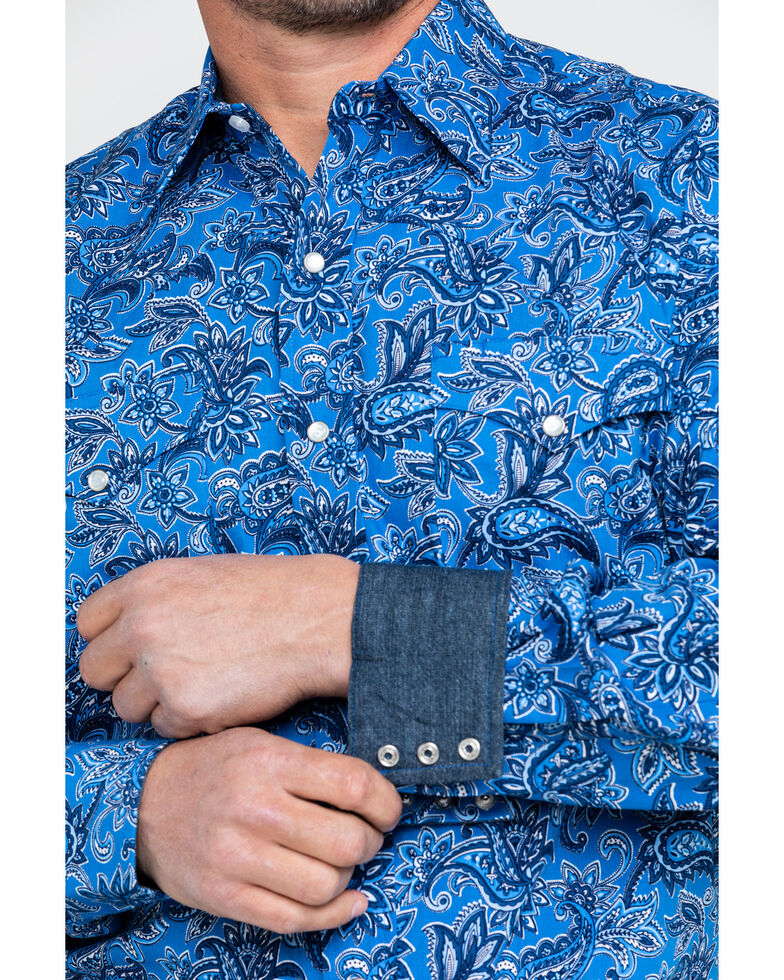 Stetson Men's Floral Paisley Print Long Sleeve Western Shirt , Blue, hi-res