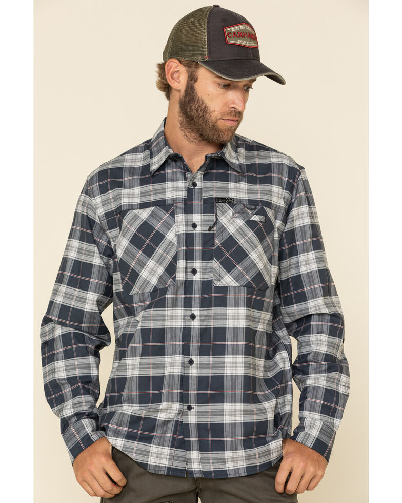 ATG By Wrangler Men's Blue Nights Plaid Hike To Fish Long Sleeve Western Shirt , Blue, hi-res