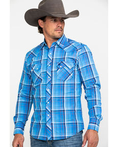 Wrangler Retro Men's Blue Large Plaid Long Sleeve Western Shirt - Tall, Blue, hi-res