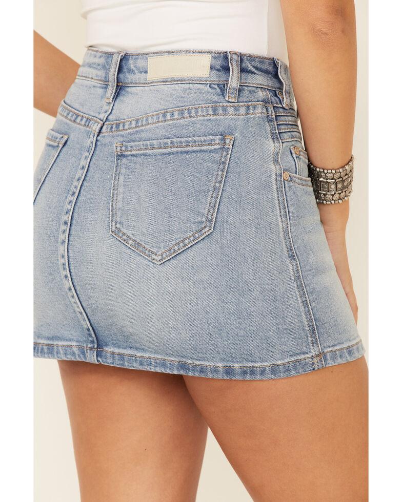 Rock & Roll Denim Women's Front Seam Detail Denim Skirt, Blue, hi-res