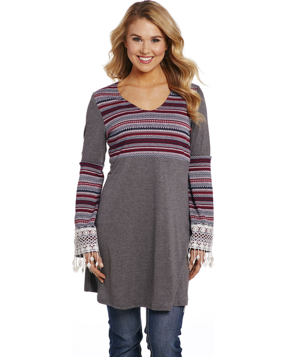 Cowgirl Up Women's Tribal Print Lace Cuffs Tunic , Multi, hi-res
