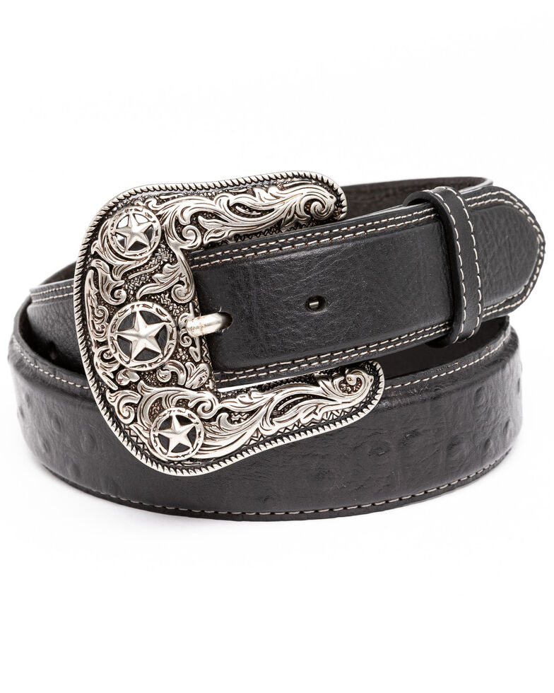 Cody James Men's Black Ostrich Print Embroidered Western Buckle Belt , Black, hi-res