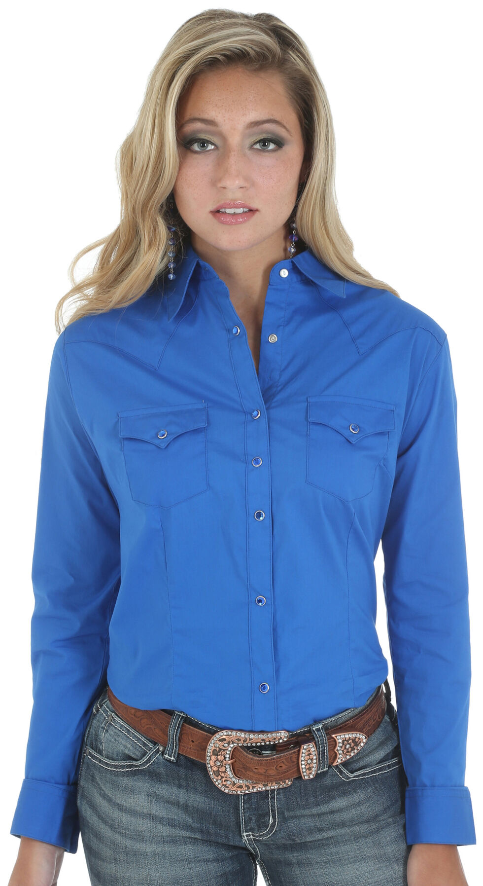 Wrangler Women's Solid Blue Snap Pocket Western Shirt , Blue, hi-res