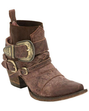Junk Gypsy by Lane Women's HWY 237 Distressed Booties - Snip Toe, Wine, hi-res