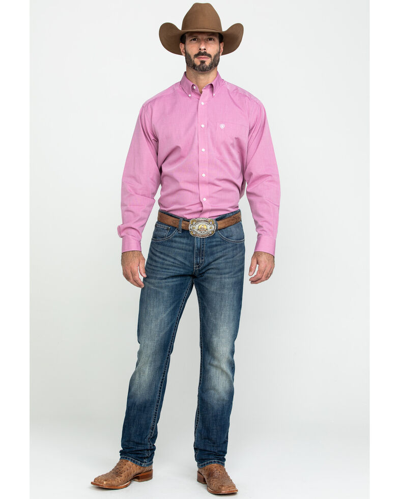 Ariat Men's Wrinkle Free Solid Pinpoint Oxford Long Sleeve Western Shirt , Pink, hi-res