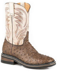 Roper Men's Diesel Ranch Exotic Ostrich Leather Western Boots - Wide Square Toe, Tan, hi-res