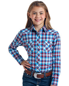Rough Stock By Panhandle Girls' Freedom Ombre Plaid Long Sleeve Western Shirt , Red/white/blue, hi-res