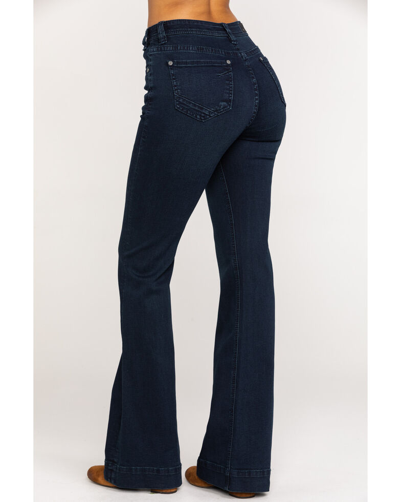 Rock & Roll Cowgirl Women's Dark Wash Extra Stretch Trousers, Blue, hi-res