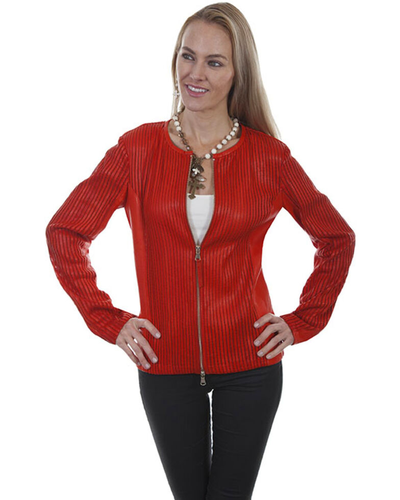 Leatherwear by Scully Women's Black Zip Leather Jacket, Red, hi-res