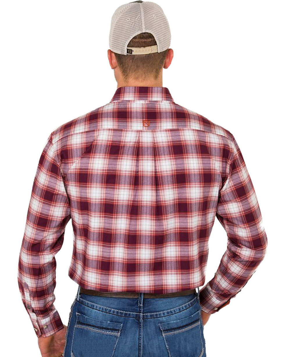 Noble Outfitters Men's Rust Plaid Western Shirt , Rust Copper, hi-res