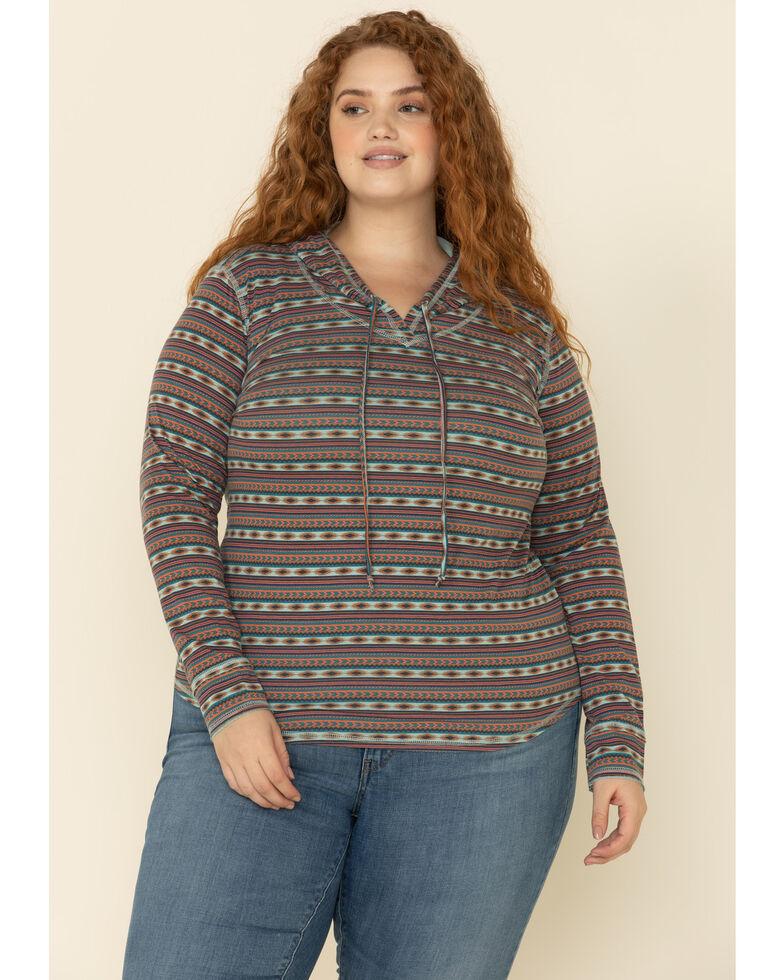 White Label by Panhandle Women's Aztec Stripe Hoodie Tee - Plus, Multi, hi-res