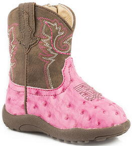 Roper Infant Girls' Pink Ostrich Print Faux Leather Booties - Round Toe, Pink, hi-res