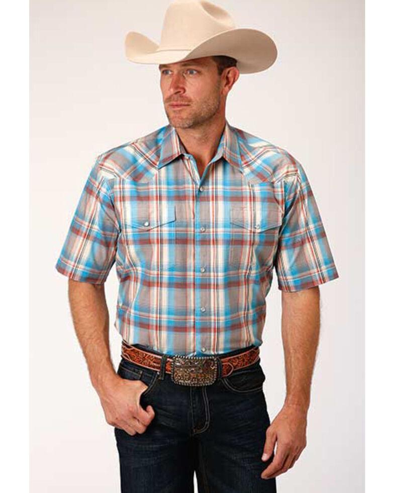 Amarillo Men's Oasis Plaid Short Sleeve Western Shirt , Brown, hi-res