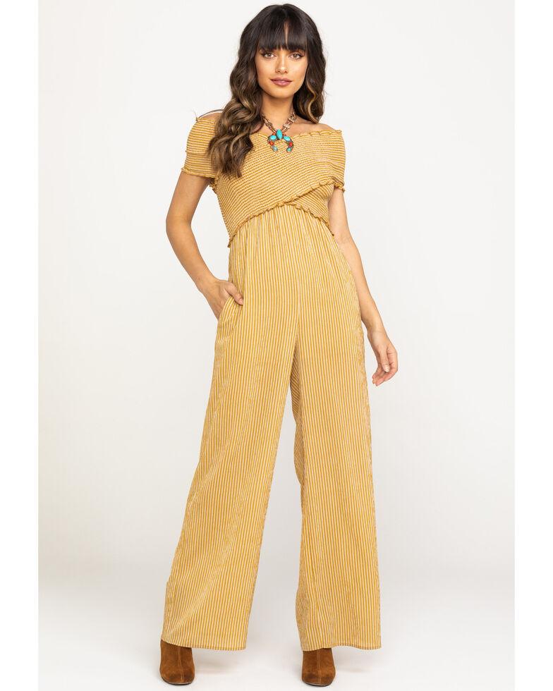 Flying Tomato Women's Stripe Smocked Top Wide Leg Jumpsuit, Dark Yellow, hi-res