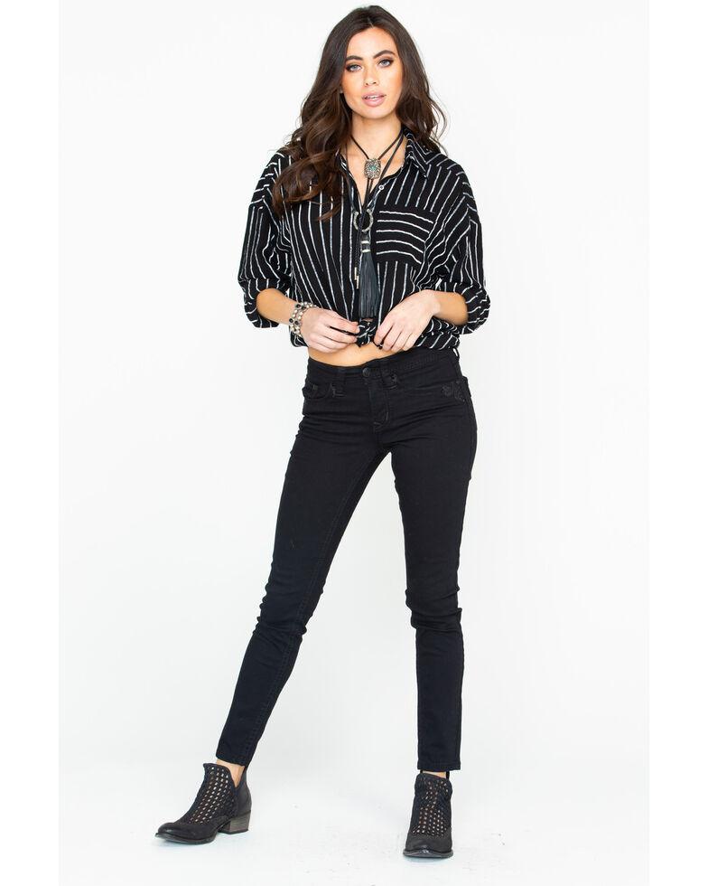 Miss Me Women's Stripe It To Me Long Sleeve Top, Black, hi-res