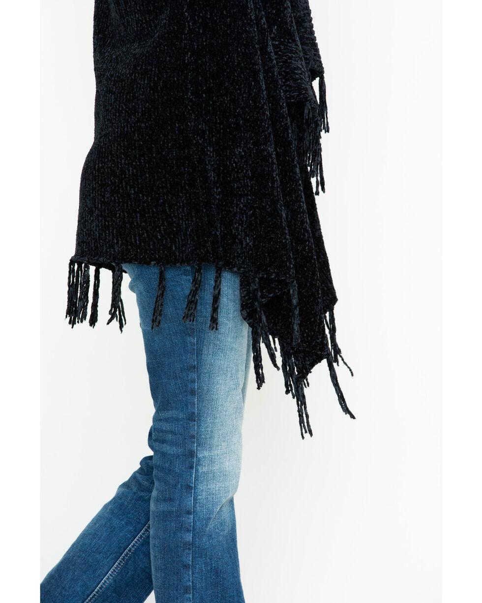 Shyanne Women's Cascading Chenille Fringe Cardigan, Black, hi-res