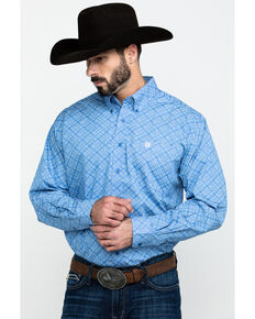 Cinch Men's Light Blue Diamond Geo Print Long Sleeve Western Shirt , Light Blue, hi-res