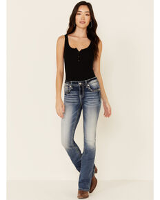 Miss Me Women's Americana Angel Wing Bootcut Jeans, Blue, hi-res