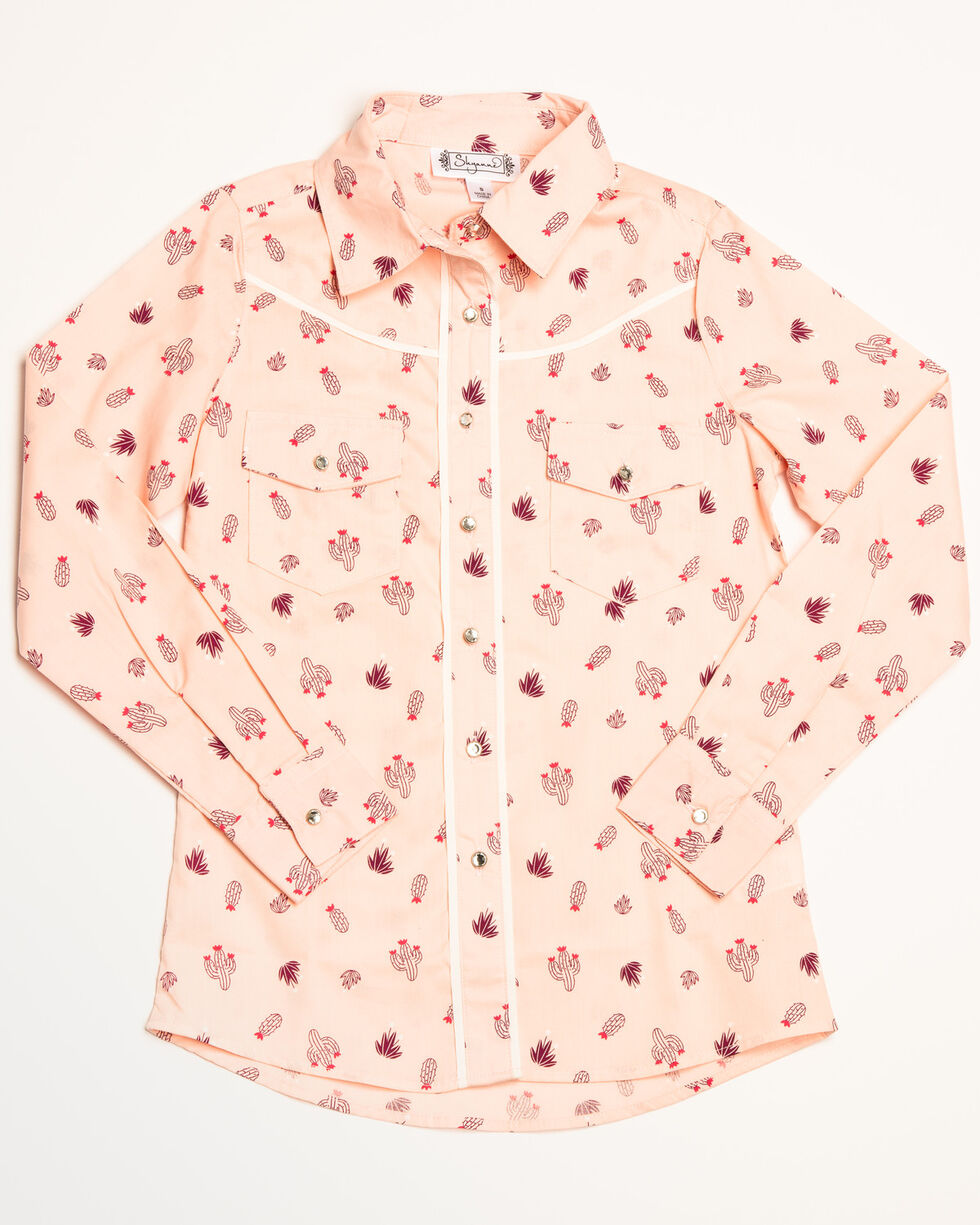 Shyanne Girls' Cactus Ditsy Print Long Sleeve Western Shirt, Pink, hi-res