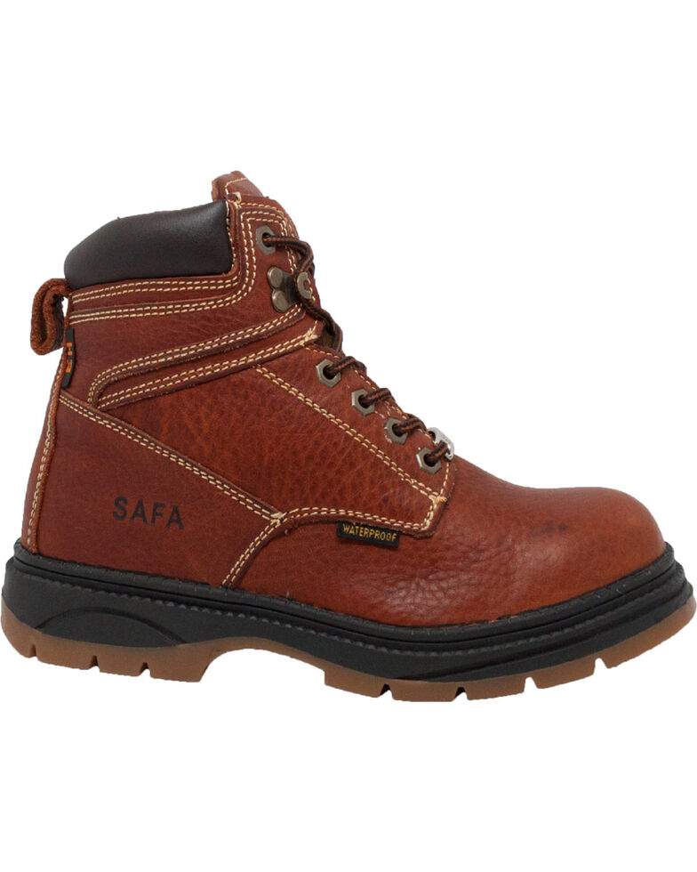 "SAFA Men's 6"" Dark Brown Waterproof Work Boots - Steel Toe, Dark Brown, hi-res"
