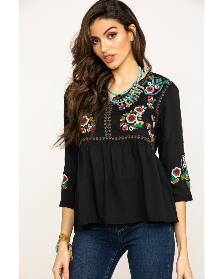 29370961aefd4 Studio West Women s Embroidered Peasant Blouse - Country Outfitter
