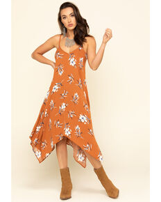Jody of California Women's Rust Floral Hanky Hem Slip Dress , Rust Copper, hi-res