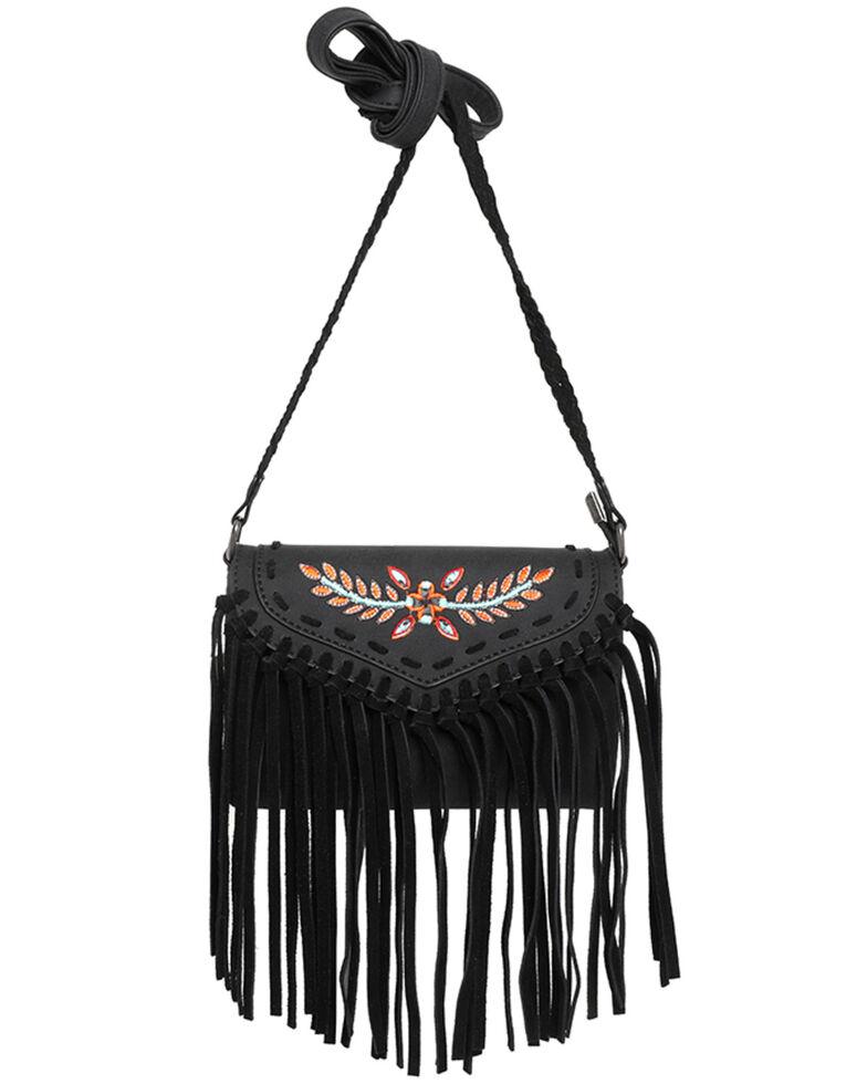 Montana West Women's Wrangler Dragon Fringe Crossbody Bag, Black, hi-res