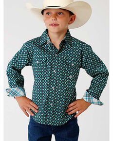 Roper Boys' Amarillo Green Geo Print Long Sleeve Western Shirt , Green, hi-res