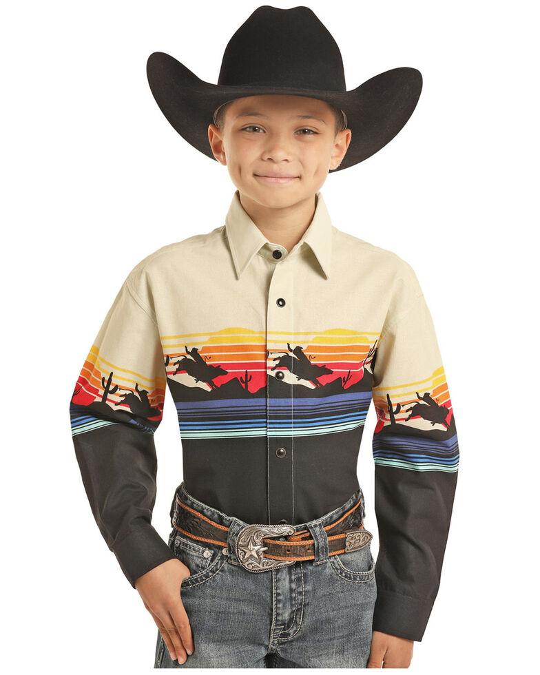 Panhandle Boys' Scenic Border Print Snap Long Sleeve Western Shirt , , hi-res