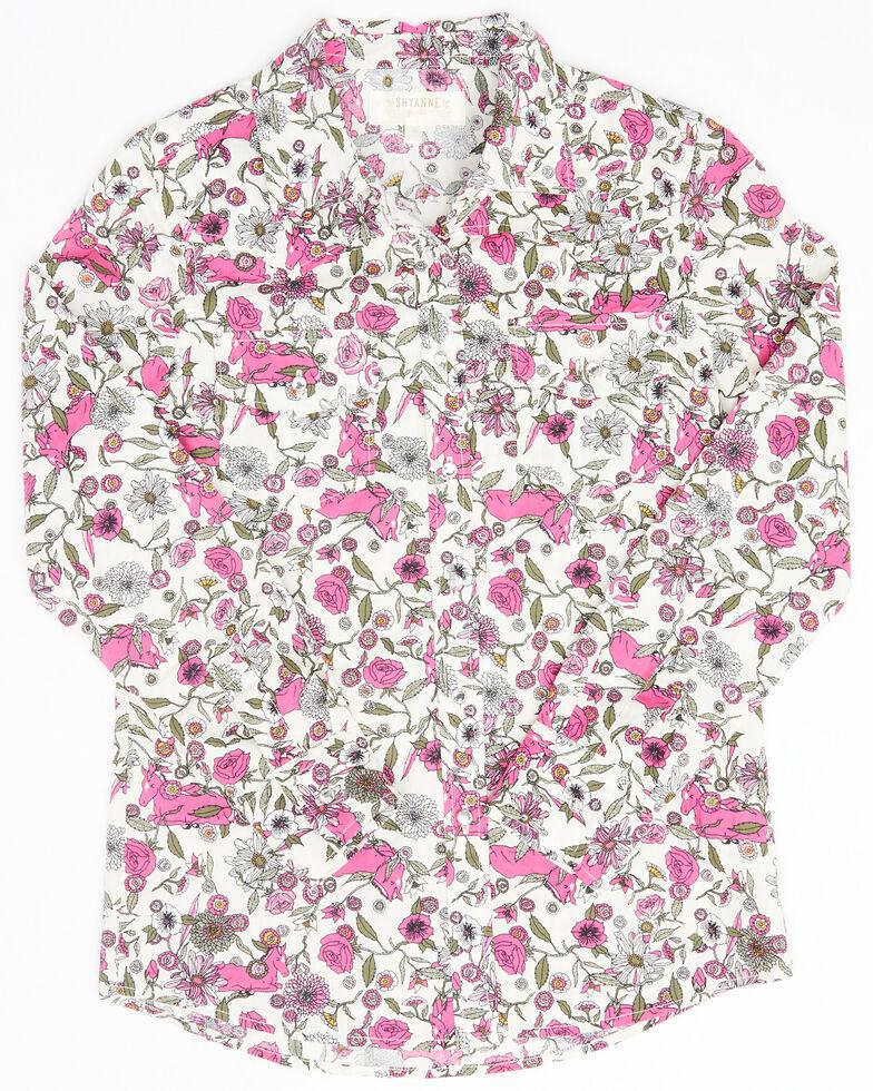 Shyanne Girls' Ivory Floral Print Long Sleeve Western Shirt , Ivory, hi-res