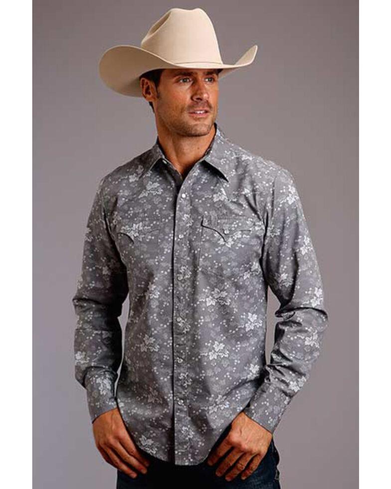 Stetson Men's Original Rugged Vine Leaf Print Long Sleeve Western Shirt , Grey, hi-res