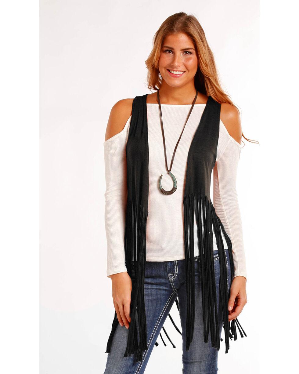 Panhandle Women's Solid Fringe Hem Vest , Black, hi-res