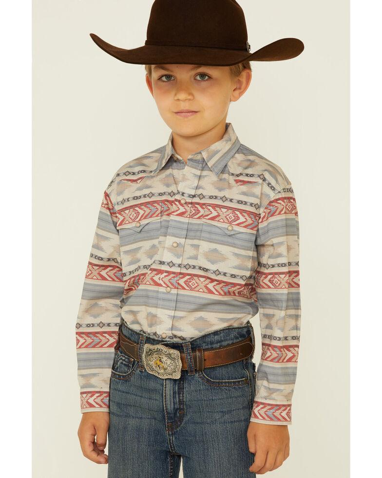 West Made Boys' Windswept Aztec Stripe Long Sleeve Snap Western Shirt , Multi, hi-res