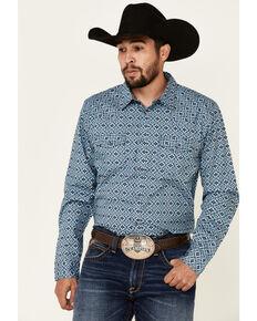 Cody James Men's Lookin Out Geo Print Long Sleeve Western Shirt , Blue, hi-res